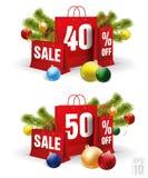 Il sacchetto della spesa di Natale ha stampato con uno sconto quaranta e cinquanta Vettore Immagine Stock