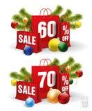 Il sacchetto della spesa di Natale ha stampato con uno sconto sessanta e settanta Vettore Immagini Stock