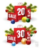 Il sacchetto della spesa di Natale ha stampato con uno sconto venti e trenta Vettore Fotografia Stock