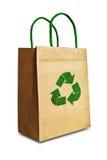 Il sacchetto di acquisto del Brown con ricicla il simbolo Fotografia Stock Libera da Diritti
