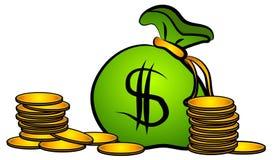 Il sacchetto di soldi conia l'arte di clip Immagine Stock Libera da Diritti