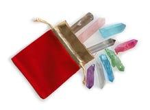 Il sacchetto prezioso di Crystal Healer delle bacchette del quarzo immagini stock libere da diritti