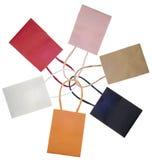 Il sacco del sacchetto di acquisto ha impostato nella figura del fiore o del cerchio immagine stock libera da diritti