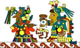 Il sacerdote indiano degli Aztechi passa la cioccolata calda Fotografie Stock Libere da Diritti