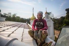 Il sacerdote ortodosso rinfresca gli incroci sulle cupole della chiesa Immagini Stock