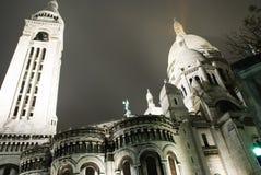 Il Sacre Coeur alla notte Fotografie Stock