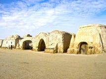 Il Sahara, Tunisia - 3 gennaio 2008: Insiemi abbandonati per la fucilazione delle guerre di stella del cinema Fotografia Stock Libera da Diritti