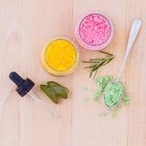 Il sale marino e l'erba dell'ingrediente della stazione termale Fotografie Stock Libere da Diritti