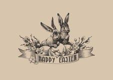 Il salice d'annata dei coniglietti di pasqua eggs la composizione nell'illustrazione Immagine Stock