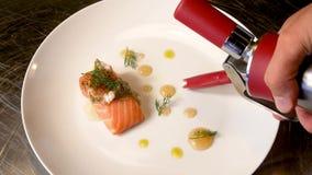 Il salmone affumicato e la salsa hanno cucinato dalla tecnica molecolare della gastronomie archivi video