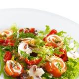 Il salmone delizioso fresco rotola con formaggio cremoso Fotografia Stock