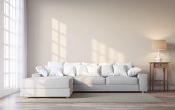 Il salone d'annata di stile con la parete beige 3d di colore rende Immagine Stock Libera da Diritti