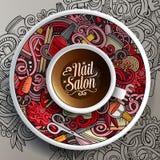 Il salone del chiodo della tazza di caffè scarabocchia su un piattino, su una carta e su un fondo Fotografie Stock