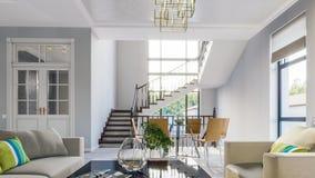 Il salone luminoso moderno nel gray tonifica l'illustrazione 3d Immagini Stock Libere da Diritti