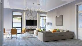 Il salone luminoso moderno nel gray tonifica l'illustrazione 3d Immagine Stock