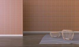 Il salone moderno del sottotetto e la sedia minima hanno messo sulla parete di legno Fotografie Stock