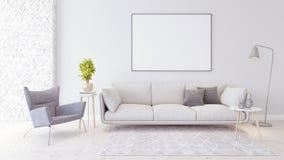 Il salone moderno, interior design con la biblioteca 3D rende fotografie stock