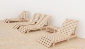 Il salotto moderno interno della spiaggia nella progettazione della stanza per rilassamento in 3D rende l'immagine Immagini Stock Libere da Diritti