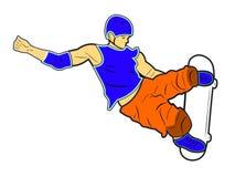 Il salto del skateboarder Immagini Stock