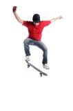 Il salto del skateboarder isolato su bianco Fotografia Stock Libera da Diritti