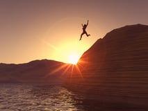 Il salto della donna Fotografia Stock