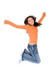 Il salto della ragazza della gioia Fotografie Stock