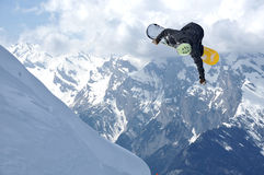 Il salto dello Snowboarder Fotografia Stock Libera da Diritti