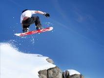 Il salto dello Snowboarder Immagine Stock Libera da Diritti