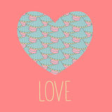 Il saluto del biglietto di S. Valentino ha stampato la carta di amore con amore del testo nel vettore Fotografia Stock