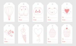 Il saluto etichetta con gli elementi disegnati a mano svegli per il giorno del ` s del biglietto di S. Valentino Immagine Stock