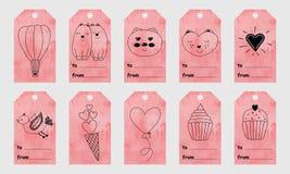 Il saluto rosa dell'acquerello etichetta con gli elementi disegnati a mano svegli per Immagine Stock Libera da Diritti