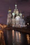 Il salvatore sul sangue alla notte a St Petersburg immagini stock libere da diritti