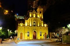 Il san dedica la cappella nella notte, Monaco Monte Carlo immagini stock libere da diritti