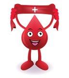 Il sangue sorridente del fumetto con dona il segno rosso sangue di goccia sull'asciugamano Immagine Stock