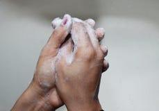 Il sapone lava a mano Fotografia Stock
