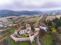 Il sassone di Alma Vii ha fortificato la chiesa nella Transilvania, Romania Immagini Stock