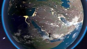 Il satellite galleggia sopra il Nord Africa video d archivio