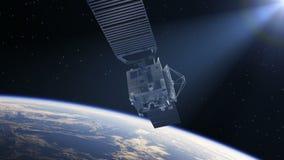 Il satellite spiega i pannelli solari nei raggi di The Sun royalty illustrazione gratis
