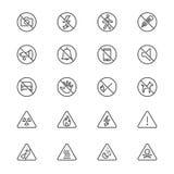Il segnale di pericolo assottiglia le icone Fotografia Stock Libera da Diritti