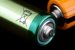 Il segnale di pericolo della batteria Fotografie Stock