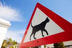 Il segnale di pericolo della strada che indica i gatti sta attraversando Immagini Stock Libere da Diritti