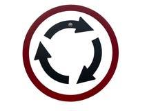 Il segnale stradale è rotonda sul fondo bianco dell'isolato Simbolo del ciclo su bianco fotografia stock libera da diritti