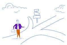 Il segnale stradale diritto dell'uomo d'affari confuso sceglie l'orizzontale di scarabocchio di schizzo della freccia dell'insegn royalty illustrazione gratis