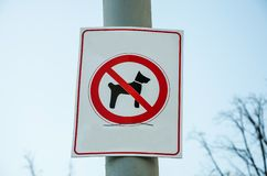 """Il segno """"camminata del cane è proibito """"sulla colonna immagine stock libera da diritti"""