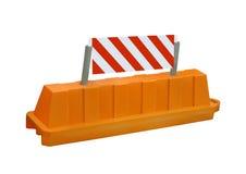 Il segno arancione della barriera della strada di obbligazione di arresto, nessuno, è Immagini Stock Libere da Diritti