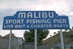 Il segno del ½ del ¿ di Pierï di pesca sportiva di Malibu del ½ del ¿ del ï al pilastro recentemente ritoccato di Malibu, Malibu, Fotografia Stock