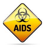 Il segno del pericolo del virus di rischio biologico di HIV dell'AIDS con riflette ed ombreggia sopra Immagini Stock Libere da Diritti