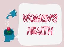 Il segno del testo che mostra a donne la s è salute Foto concettuale Women& x27; conseguenza di salute fisica di s che evita mala royalty illustrazione gratis