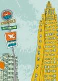 Il segno dell'aeroporto e la fermata dell'autobus firmano dentro la città illustrazione vettoriale