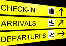 Il segno dell'aeroporto, gli arrivi, partenza, controlla Fotografia Stock